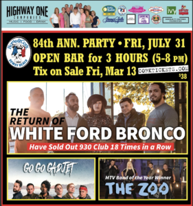 84th Anniversary Party w/ White Ford Bronco, Go Go Gadjet, & The Zoo