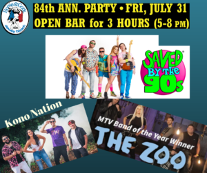 84th Anniversary Party w/ Saved by the 90's /The Zoo/Kono Nation